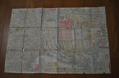明治初 地図 絵図 彩色細密銅版画『大阪府区分新細図』