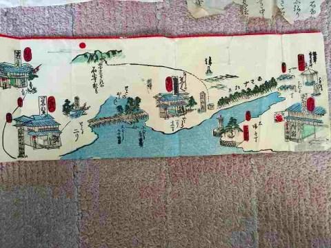 江戸 明治 地図 絵図 彩色 細密『滋賀県周辺、道中絵図』