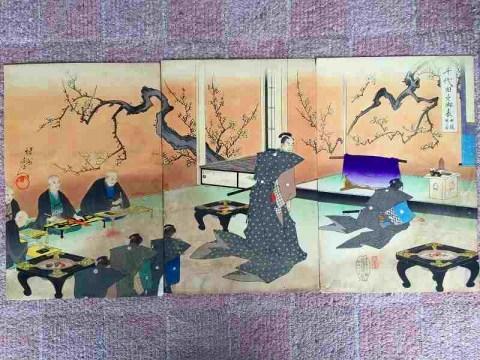 明治 浮世絵 彩色 周延『千代田之御表 3枚組』江戸城