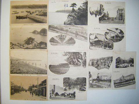 大正・日本絵葉書・新潟、勝浦名所、北越柏崎他、新潟風景、12枚一括