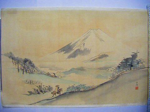 明治 浮世絵 美術 絵画『久保田 米遷 肉筆 富士山』