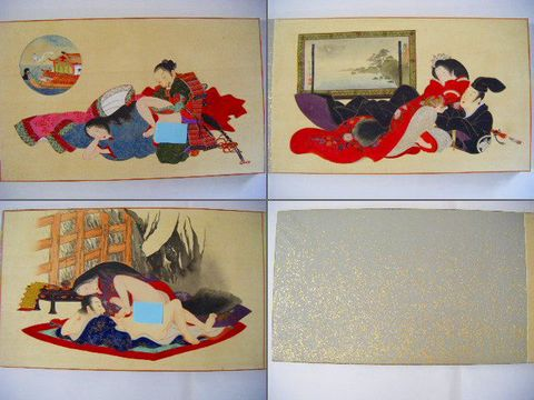 明治初 浮世絵『和堂遊人 筆 絹本 彩色 肉筆 春画 12画』