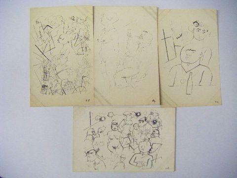 昭和初 美術 戯画 漫画 春画『絵葉書 裸婦画 17点」