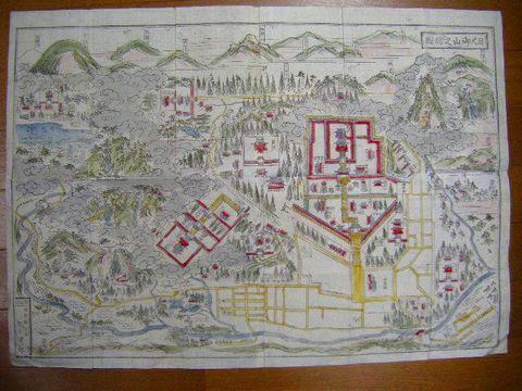 江戸 明治初 地図 全図 彩色 木版『日光 御山之 絵図』