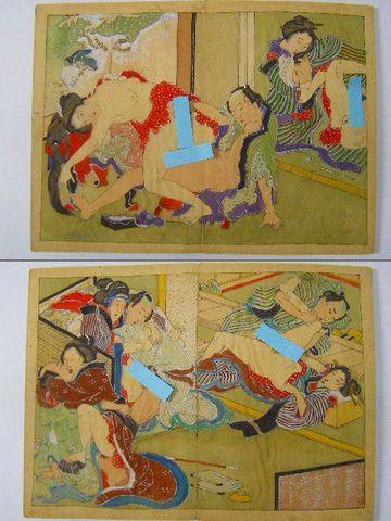 明治初 浮世絵 北斎『彩色 木版 春画 14画 絹本』
