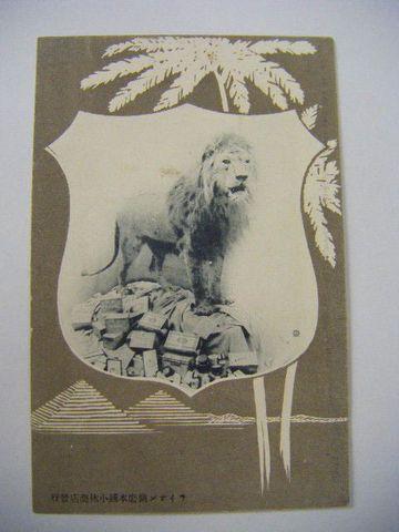 明治 写真 引き札『絵葉書 ライオン 歯磨き 広告』
