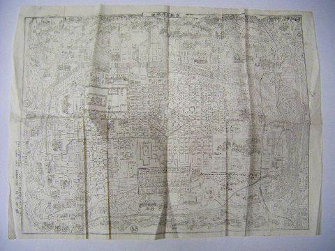 明治 絵図 全図 細密 銅版『京都 名所 地図』石田有年