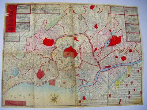 明治 絵図 全図 彩色 細密 銅版『東京 地図 2点』