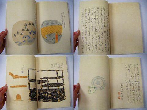 明治 浮世絵 絵本 彩色 木版『逢園観古 図録』大判