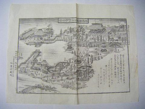 明治 地図 絵図 細密 銅版「越中 如意山 乙宝寺 略図」