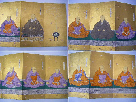 大正初 浮世絵 宗教 浄土真宗 彩色 石版「両御門跡歴代御肖像」木箱付き