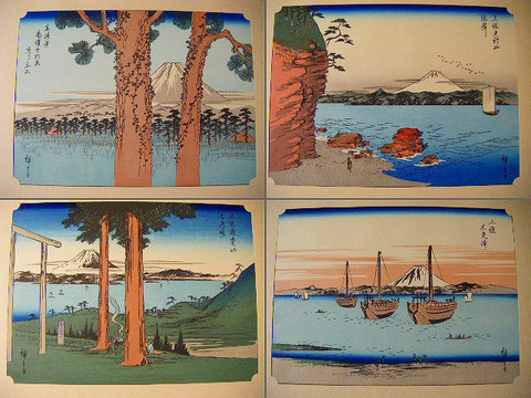 浮世絵 広重「豪華 木版画 富士 二十図 と額1点 計二十一点」限定