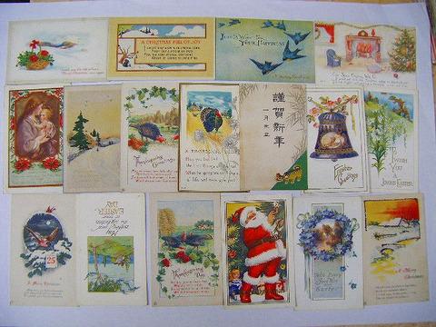 昭和初 戦前 アメリカ「クリスマス 等 グリーティング 絵葉書 47点」飾り エンボス