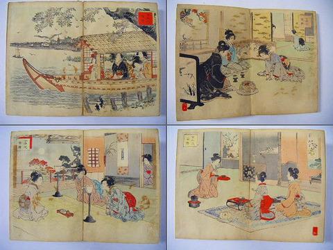 明治 浮世絵 美人 教育「女礼式図絵 12画」彩色 木版画