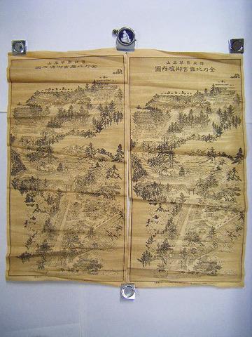 大正 地図 絵図 鳥瞰図 石版「金比羅 宮 御 境内図2点」香川 讃岐 名所