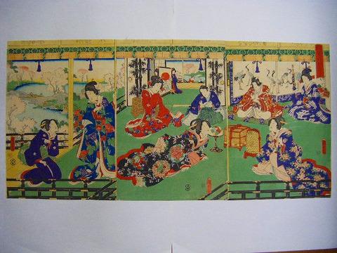 江戸 浮世絵 国貞 美人「雀歌 萬代 げんじ 3枚組」彩色 木版画