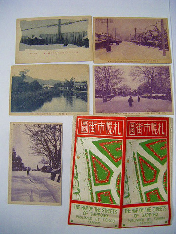 明治 ~ 大正初 北海道「札幌 市街図 絵葉書 5枚 一括」地図 絵図 写真