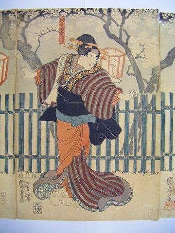 江戸 浮世絵 国芳「出雲や阿国 名古屋山三郎 不波伴左エ門 3枚組」