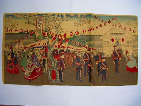明治 浮世絵 幾英 第三回「勧業 博覧会 御遊覧之図 3枚組」彩色 木版画