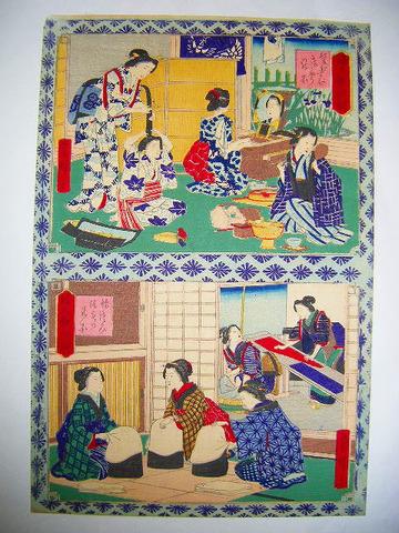 明治初 浮世絵 広重「婦人教訓鏡 (1) 髪結 等 2画」美人 化粧 彩色 木版
