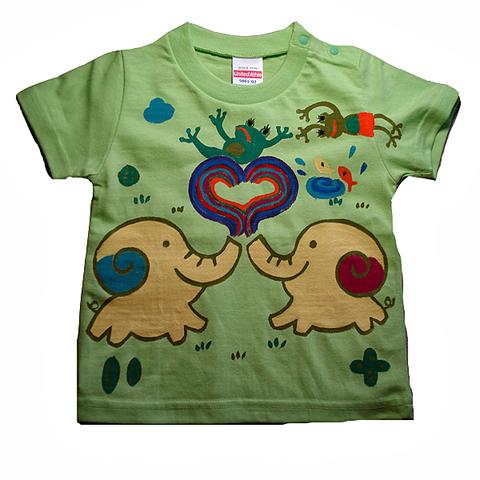 名入れTシャツ出産祝い 子供服 名入れ ハート虹象とカエルTシャツ
