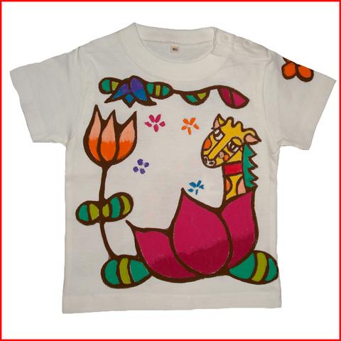 名入れTシャツ出産祝い 子供服 名入れ 蓮きりんTシャツ