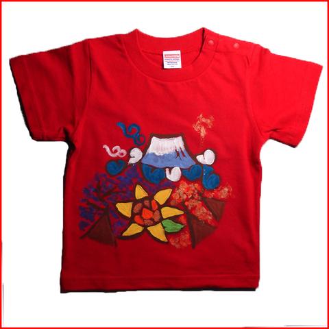 名入れTシャツ出産祝い 子供服 名入れ 富士山鶴亀Tシャツ