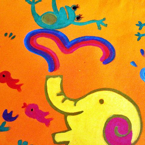 虹象と蛙エコバッグ