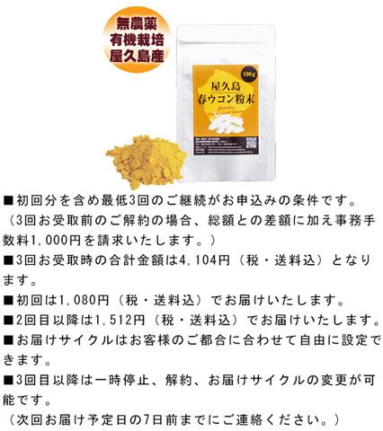 【定期購入】屋久島春ウコン粉末(100g)ポスト投函