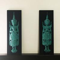 【送料無料】ミャンマーチーク ウォールカービングウッド アート