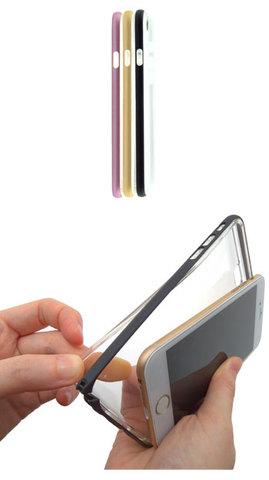 iPhone5用ケースアルミバンパー&TPUクリアカバー