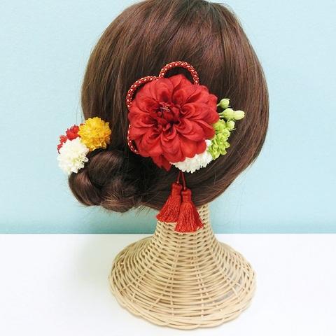 *【七五三6点セット】髪飾り ダリア(レッド)*
