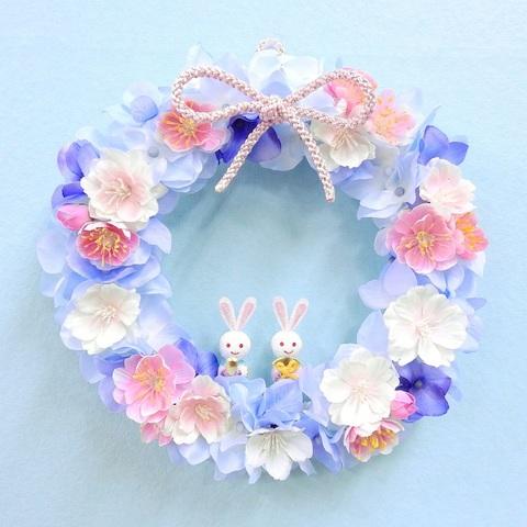 * 桃の花と桜のリース(ひな祭り)ブルー *