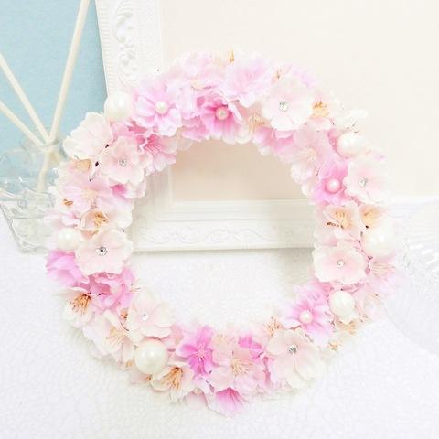 *キラキラ華やかな満開の桜リース(スワロフスキー&パール) *