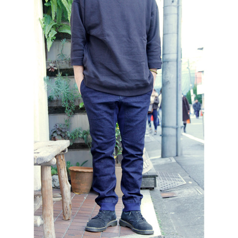 【GO HEMP】SLIM RIB PANTS/10oz H/C STRETCH DENIM ONE WASH