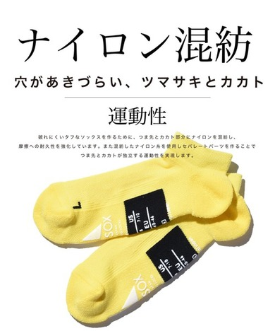 【ANDSOX】SUPPORT PILE SHORT ANKLE/BRILLIANT LIME