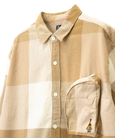 【go slow caravan】シャンブレーBIGブロックチェック マチポケR/Gシャツ