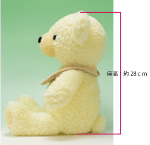 ぬいぐるみ 手作り クマのフカフカLクリーム40cm(日本製)