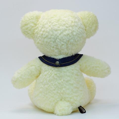 ぬいぐるみ手作り クマのフカフカLクリーム40cmデニムB