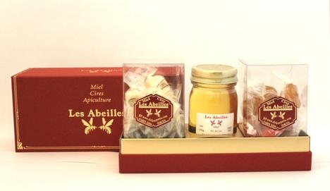 ギフト ハチミツ1瓶(アカシア)とフランス伝統菓子ヌガー(10個)とボンボンミエル(18個)