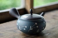 常滑焼 深蒸し茶用帯網急須 陶葉 320cc