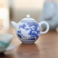 急須 茶壷 120cc 台湾製 白磁 手書き染付急須 深蒸し茶用 帯網急須