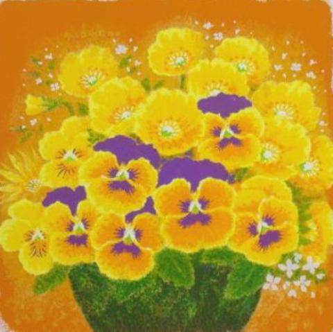 風水版画 S301 金運 黄色い花吉岡浩太郎