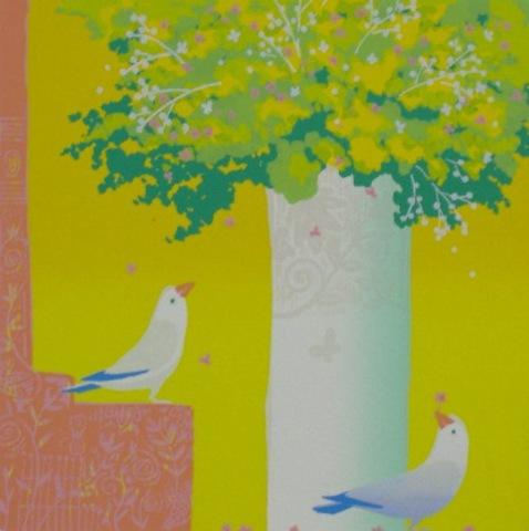 版画30230 小鳥と花 吉岡浩太郎