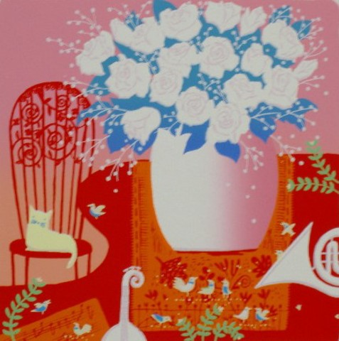 版画30233 白いバラ 吉岡浩太郎