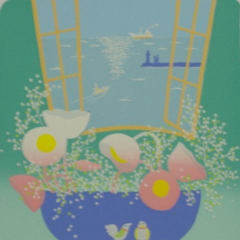 版画30236 小鳥の朝 吉岡浩太郎