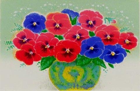 風水版画IP2 仕事運 紫の花吉岡浩太郎