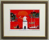 版画IP41 赤い灯台A吉岡浩太郎