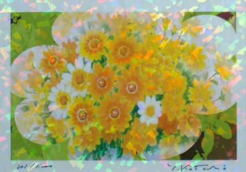風水版画 IPC35 金運 四ッ葉の黄色い花吉岡浩太郎