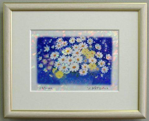 風水版画 IPC52 家庭運 白い花B吉岡浩太郎